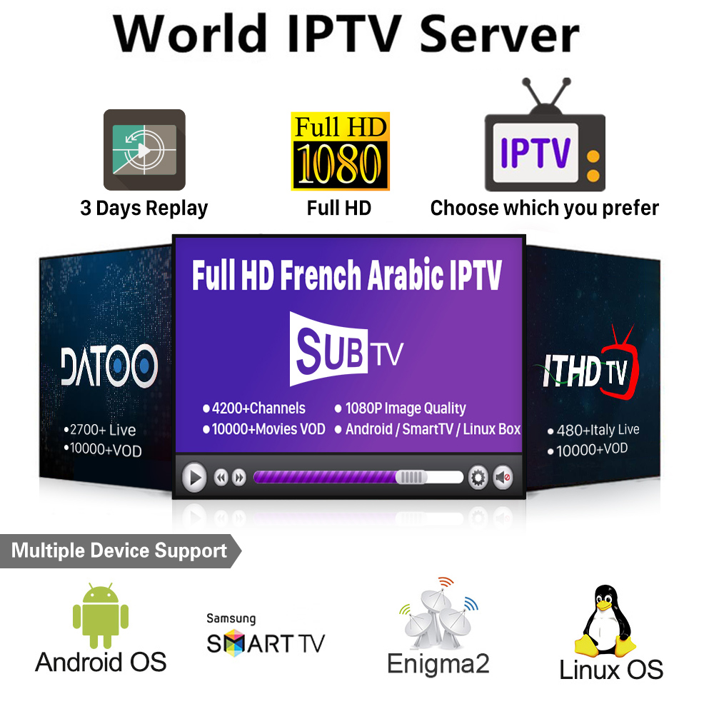 France Italy Arabic IPTV SUBTV ITHDTV DATOO 1 year Code IPTV Subscription  for Smart tv Android m3u IPTV Italy Spain Belgium