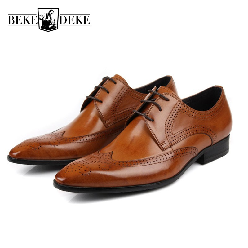 Top Brand Business Mens Dress Shoes Genuine Leather Black Italian Fashion Male Shoes 2018 New Retro Brogue Pointed Toe Footwear leisure footwear new 2016 suede european style leather buckle shoes mens luxury brand pointed toe italian dress shoes for men