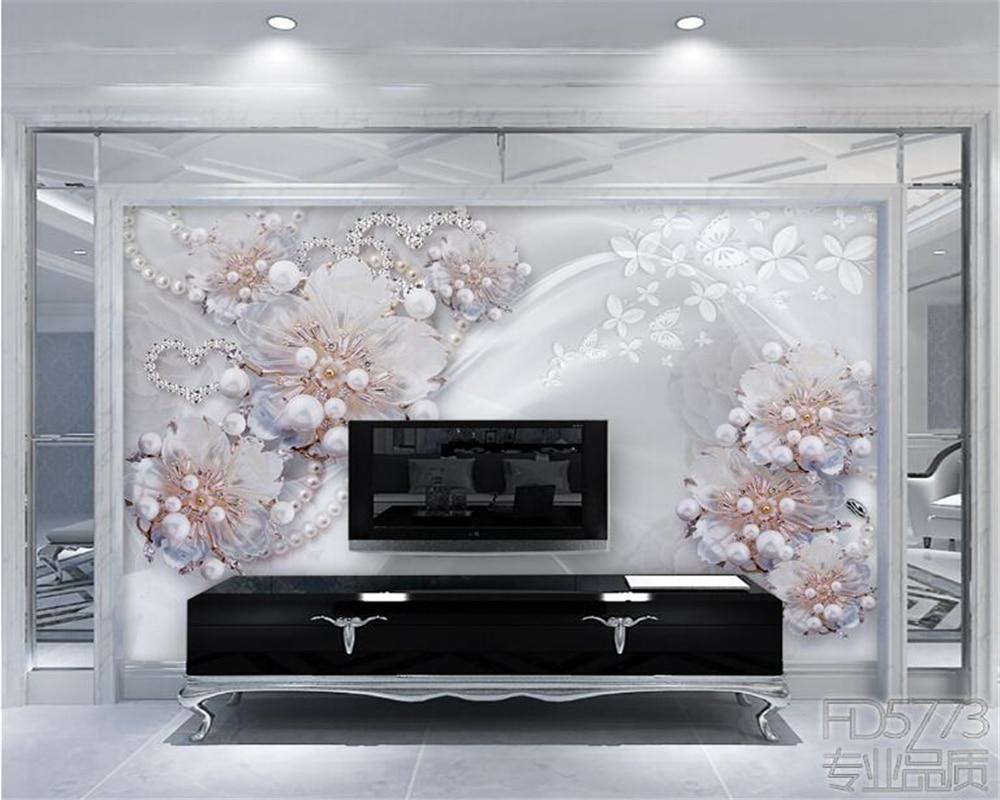 beibehang High grade exquisite jewelry flowers living TV backdrop 3D ...