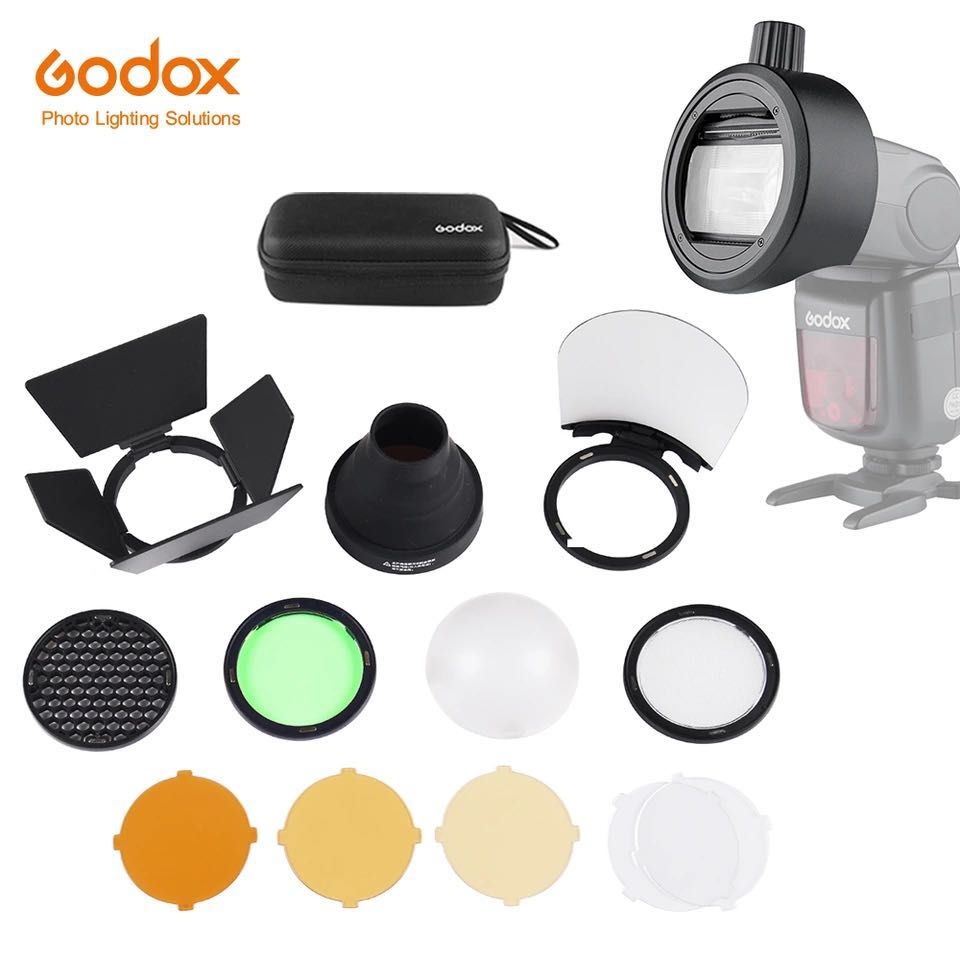 Godox S-R1 with AK-R1 Flash Speedlight Adapter Barn Door, Snoot, Color Filter, Reflector, Honeycomb, Diffuser Ball Kits