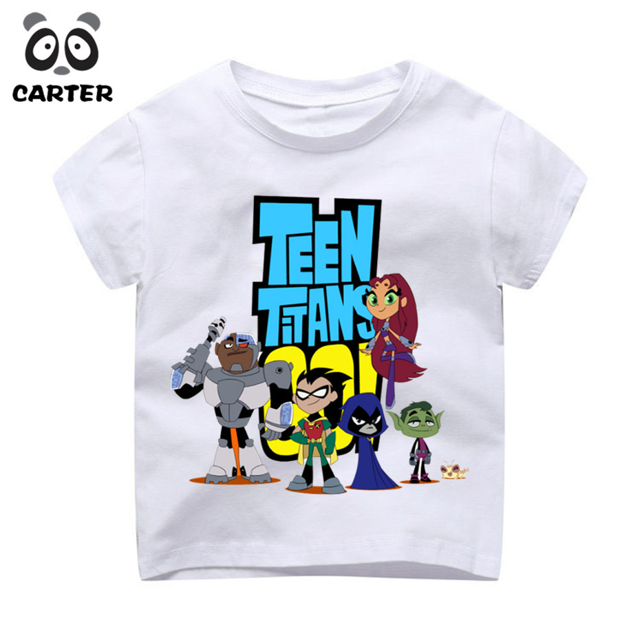 Boys and Girls Teen Titans Go Cartoon Printed Camiseta T Shirt Children Casual Short Sleeve Tops Tees Kids Cute T-Shirt Camiseta mens casual 3d personality skull printing short sleeve t shirt cotton sport black tees