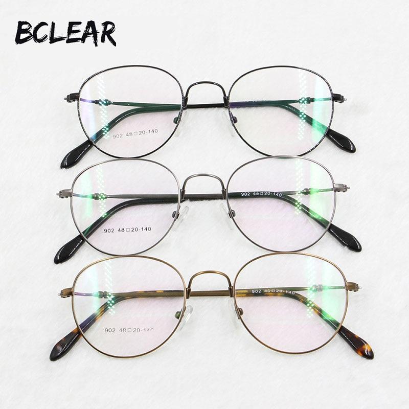 BCLEAR Retro kerek optikai kerettel, kiváló minőségű, ötvözött fém, teljes keretű szemüvegek férfiak és nők számára, a legnépszerűbb új 902