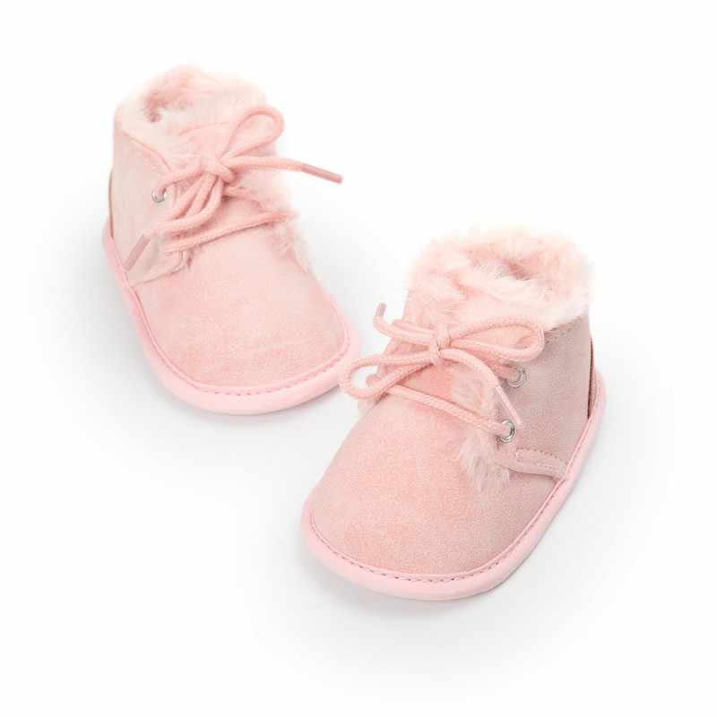 Autumn/Winter Cute Baby Solid Lace-Up Baby Boots Cross-tied Baby Shoes Keep Warm Baby Plush Boots