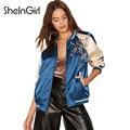 SheInGirl Женщины Бомбардировщик Куртки синий цветок Вышивка лоскутное Куртка Пальто Цвет блока основной куртки верхняя одежда и пальто