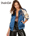 SheInGirl  Women Bomber Jackets blue flower Embroidery patchwork Jacket Coats Color block basic jackets outerwear & coats