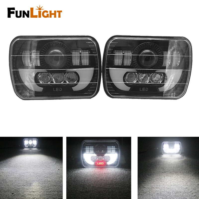 2PSC 5x7 Auto DRL Led Headlamp 5x7 Inch Led truck headlight 6x7 High Low Beam Square Led Headlight For Jeep Cherokee XJ 12v led light auto headlamp h1 h3 h7 9005 9004 9007 h4 h15 car led headlight bulb 30w high single dual beam white light