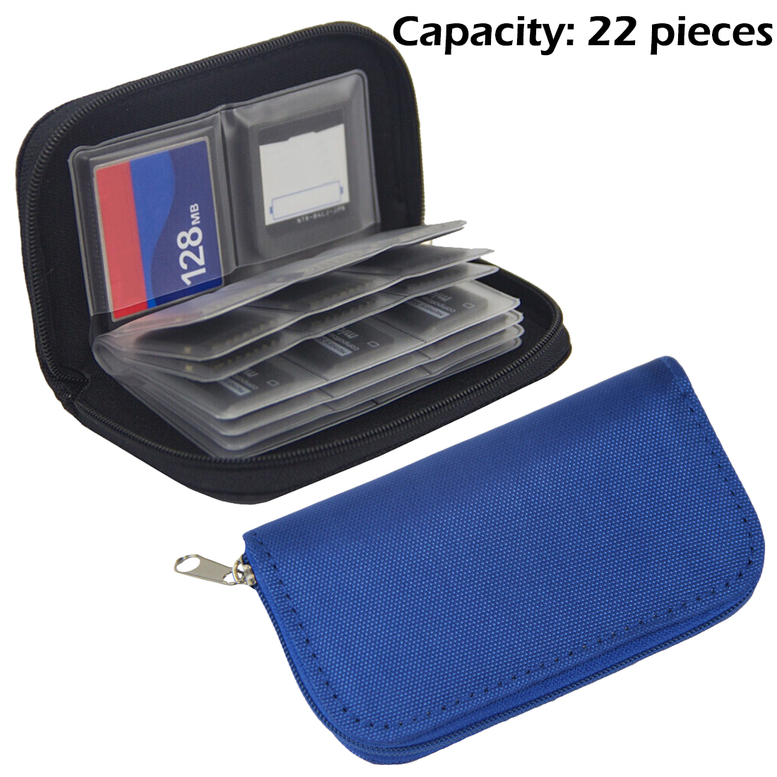 Portable Digital Camera SD SDHC MMC CF Micro SD Memory Card Storage Organization Wallet Case Bag 22 Slots CF Holder Blue