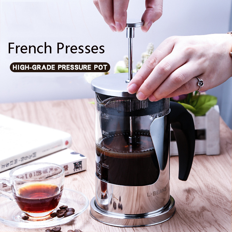 350ml/600ml/800ml Stainless Steel Glass Hollow Cafetiere French Presses Filter Tea Coffee Pot Press Plunger turkish coffee pot