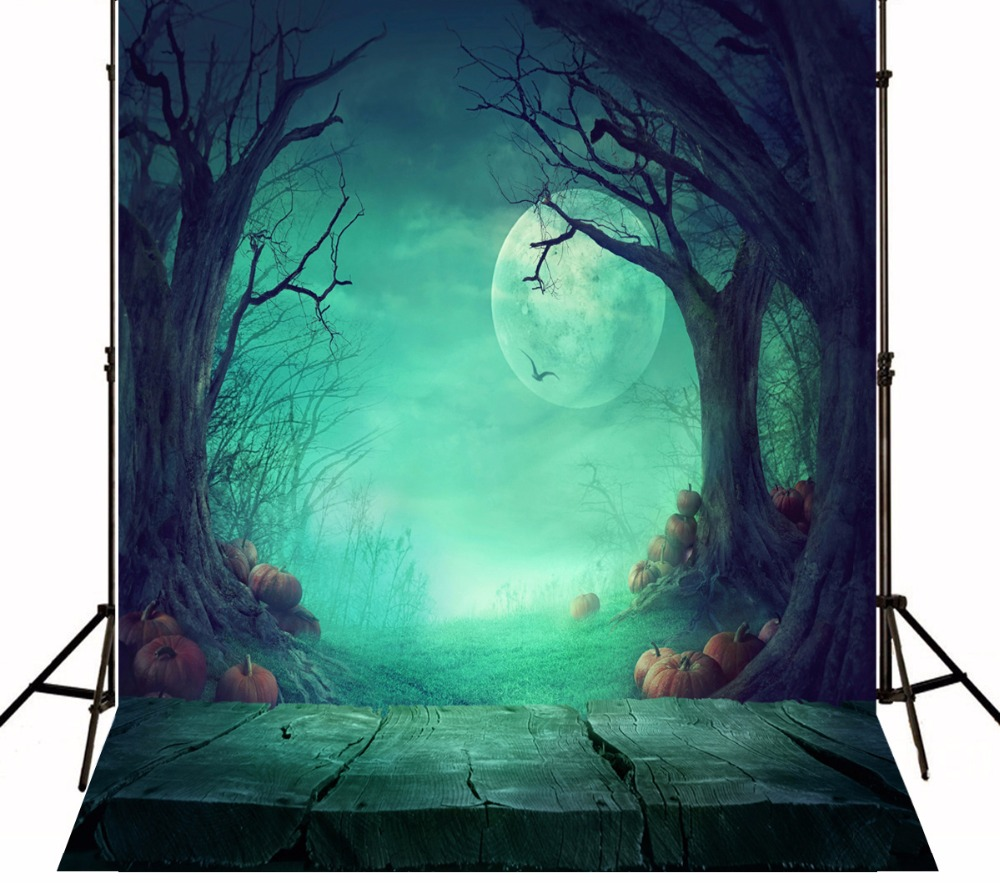 Kate Halloween Moon Photography Backgrounds with Pumpkin  Light Green Wood Block Photo Backdrops  for Children Photo Studio 7 5ft halloween theme photography backgrounds full moon pumpkin black raven haunted house photo backgrounds for studio props
