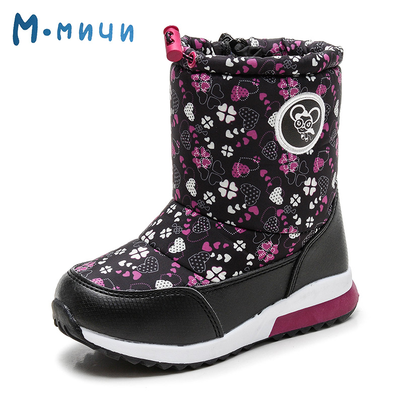 MMNUN Heart Printing Toddler Girls Boots Children Comfortable Mid-Calf Kids Winter Boots Brand New Shoes for Girls Size 26-31