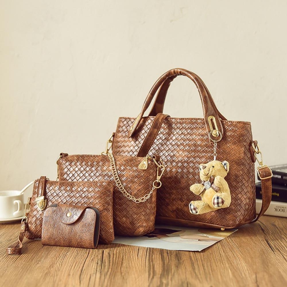 Fashion Women 4pcs Bag Set Weave PU Soft Handbag Should Bag Tote Clutch Large Tote Female Shopping Bag