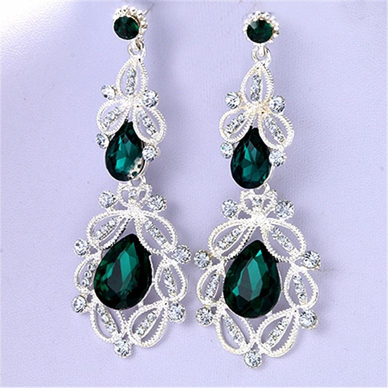 мода большой длинный синий кристалл серьги-капли для женщин урожай цветок серебро цвет невесты серьги свадебные украшения аксессуары