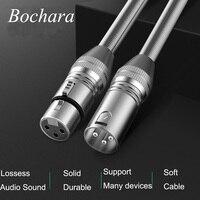 Bochara kabel xlr męski na żeński M/F z ochroną sprężynową na wzmacniacz mikrofonowy folia + pleciony ekranowany na