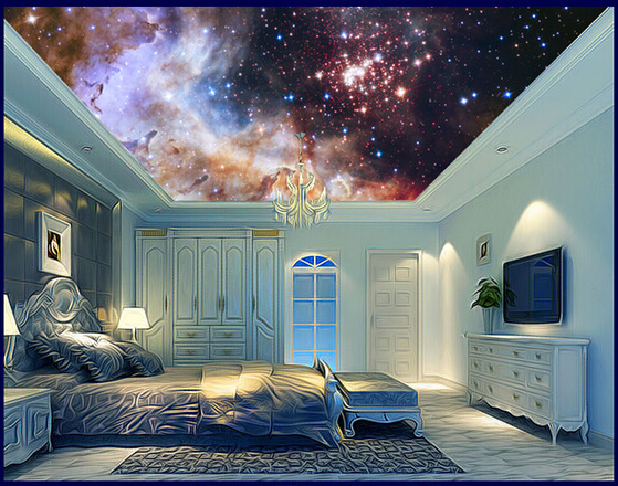 Custom photo wallpaper, large murals star universe is used in the bedroom of children room ceiling wall vinyl paper DE parede the woman in the photo