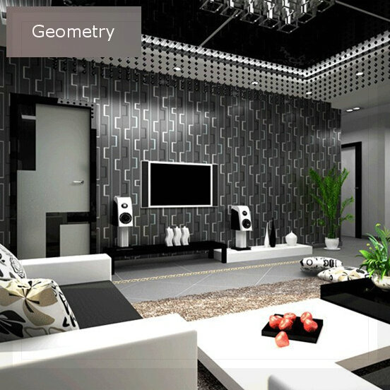 Geometric Wallpaper 3d Abstract Wallpapers Non Woven Wallcovering  Background Wall Modern Wallpaper Black For Living Room WP097 W In Wallpapers  From Home ... Part 66