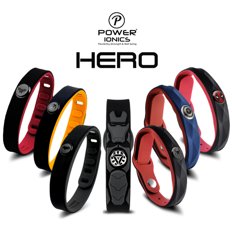 Power Ionics Super Hero Series 3000 ions Sports Titanium Fashion Waterproof Bracelet Wristband Balance Human Body