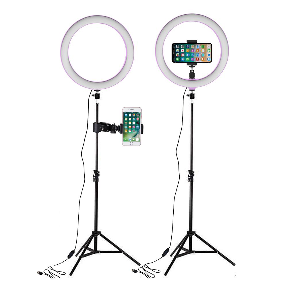 LED Ring Lights 26cm Annular Lamp Studio Photography Photo Lamps With 160cm Tripod Light For Selfie Lampada Phone USB Ringlight