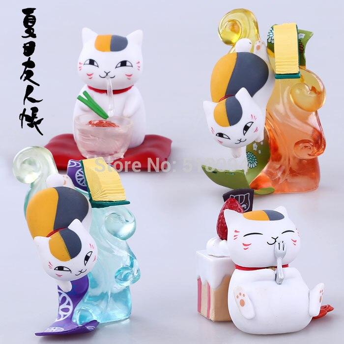 Cute 3 Natsume's Book of Friends Anime Natsume Yuujinchou Nyanko Sensei PVC Figure Model Toys Dolls 4pcs/set NYFG017
