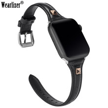 Leather Strap For Apple Watch Band 38mm 42mm iWatch Women Men Sport Thin Strap Wristband Rivet Bracelet Series 4 3 2 1 Edition(China)