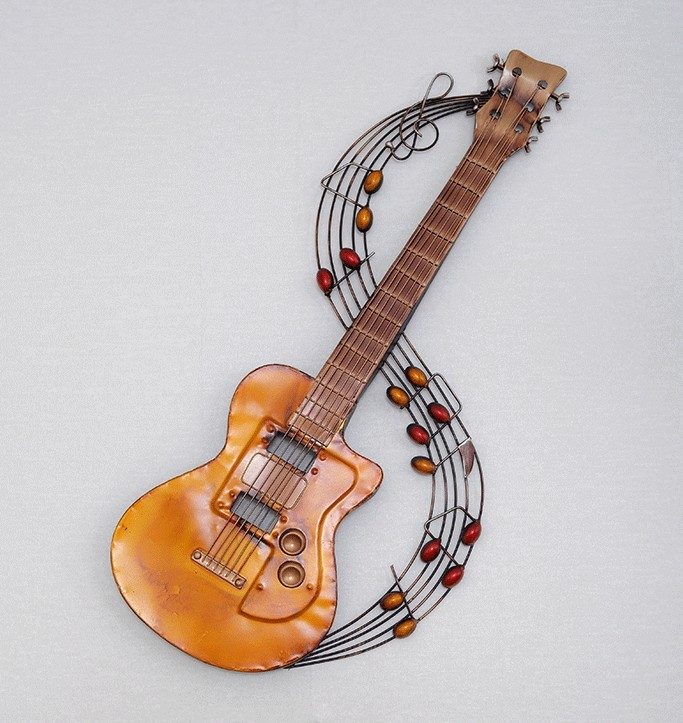 Metal home decoration metal wall art hand made guitar and music note ...