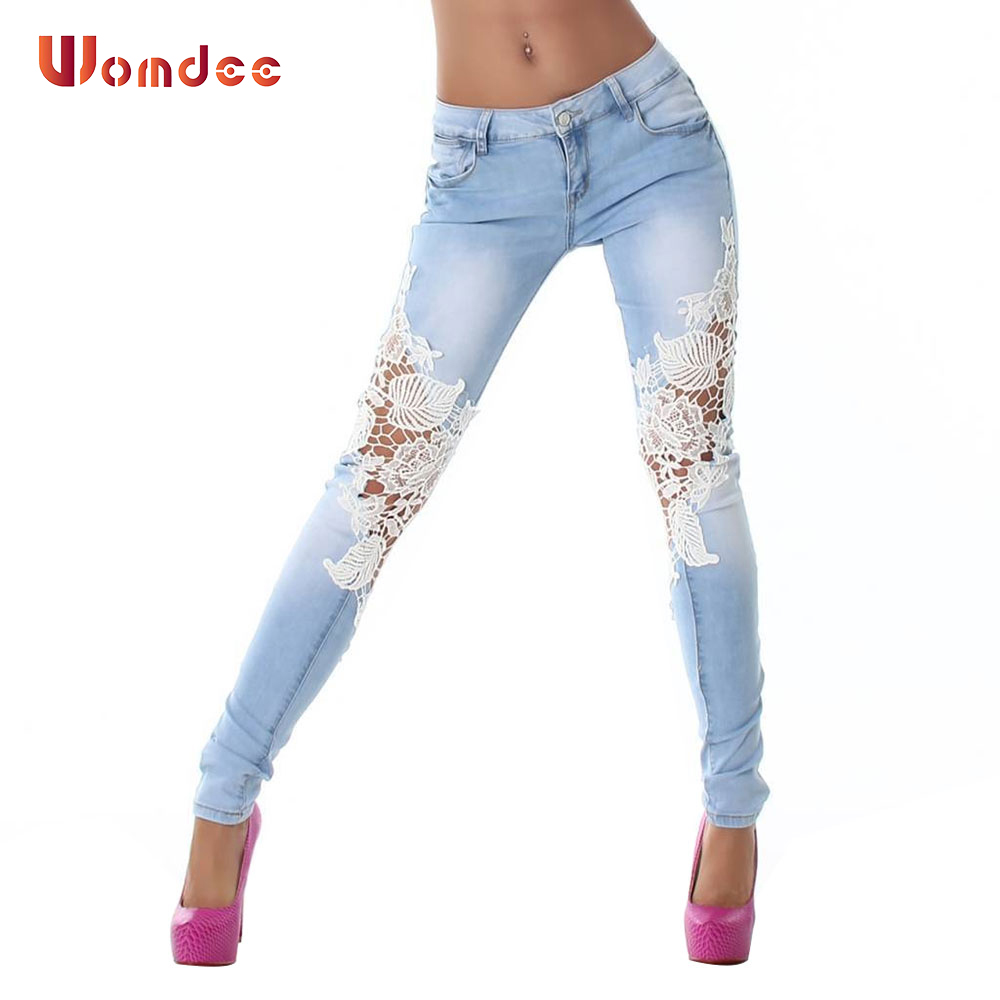 Womdee 2017 Summer Women Hollow Out Patchwork Lace Full Length Mid Waist Light Blue Pencil Pants Jeans With Zipper Plus Size hollow out lace patchwork plain designed casual pants