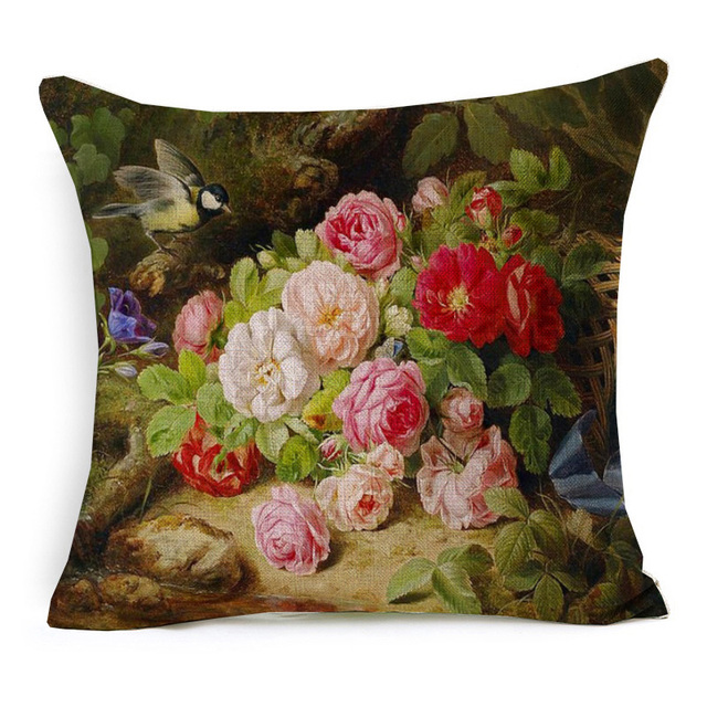 Retro Style Flower Printed Cushion Cover