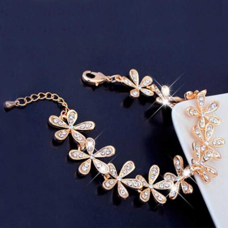 1 PC Hot kobiety złoto srebro bransoletka dla kobiet płatek śniegu kryształ zestaw dżetów urok prezent moda biżuteria