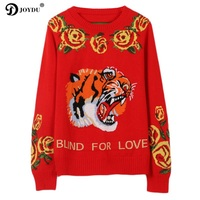 JOYDU pull femme 2018 New Fashion Vintage Tiger Head Flower Jacquard Winter Casual Wool Jumper Women Pullover Knitted Sweater