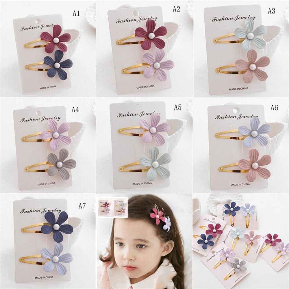 2Pcs Kids Girls Pearl Flower Hair Clip Girls Kids Hairpin Accessories For Children Hair Barrette Hairclip Headdress Headwear