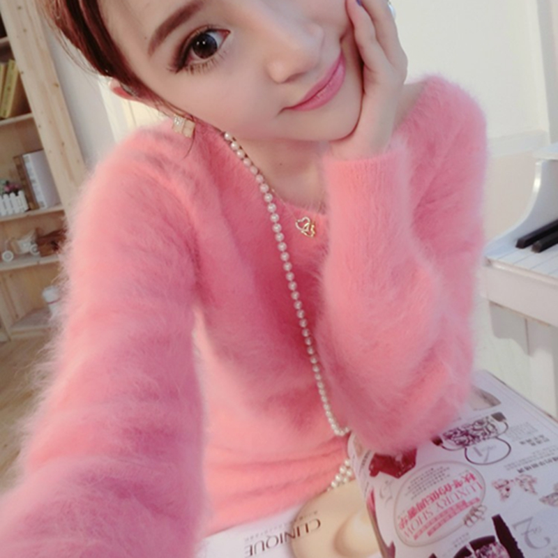 2019 New Fashion Women Fluffy Mink Cashmere O Neck Loose Sweater Female Solid Warm Mink Cashmere