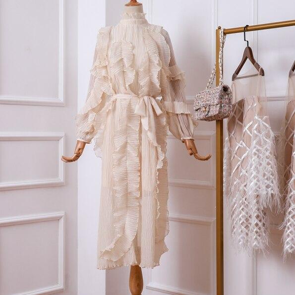 Printemps À Manches Longues Robe Femme 2019 Nouveau col montant Bulle Manches Couches de Ruches de Mousseline de Soie Plissée Longue Robe Maxi Robes