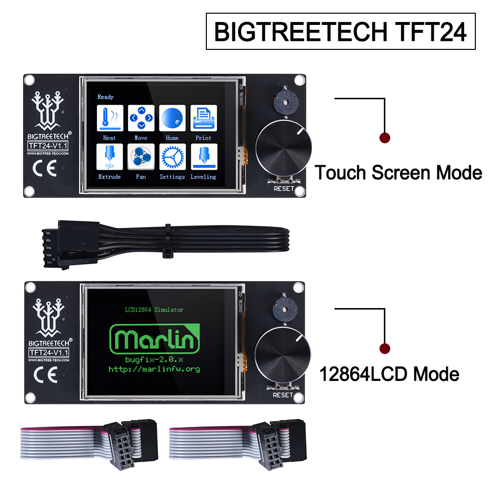 BIGTREETECH TFT24 V1.1 Touch Screen Display Compatible 12864LCD 3D Printer Parts VS MKS TFT2.4 For SKR PRO SKR V1.3 Ender-3