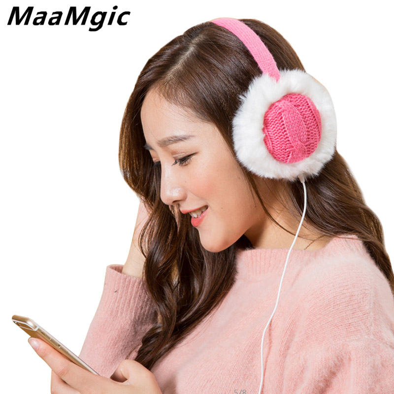 2017New Plush Female Winter Earmuff Warm Ear Muffs Headphones Girls Earmuffs Music Earphone Ear Warmers Protector Fur Headphones