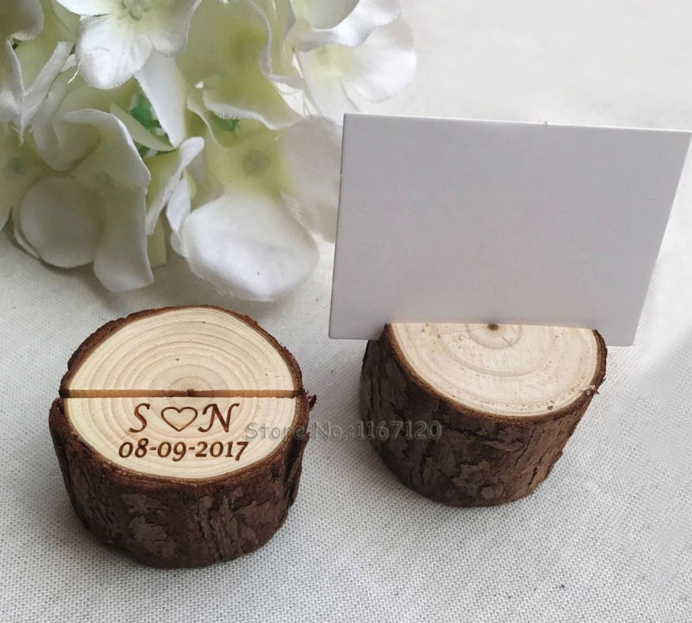 20pcs wood table number holder guest card holders woodland wedding place card stand name tag