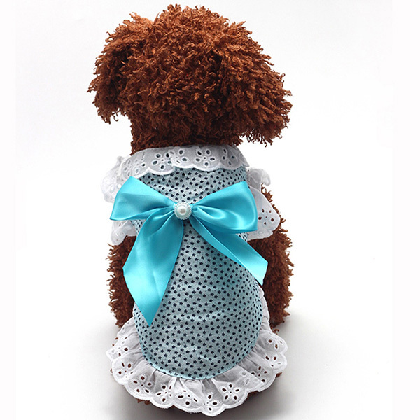 Nice Small Dog Lace Bow Dress Pet Puppy Cat Party Dress Cotton Blend Skirt Apparel XS/S/M/L/XL H1