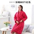 5 Pçs/lote Venda Quente Senhora Inverno Pijama Roupão De Banho Sleepwear Mulheres Roupões De Banho Mulheres red Robes Pijama de Malha de algodão Frete Grátis