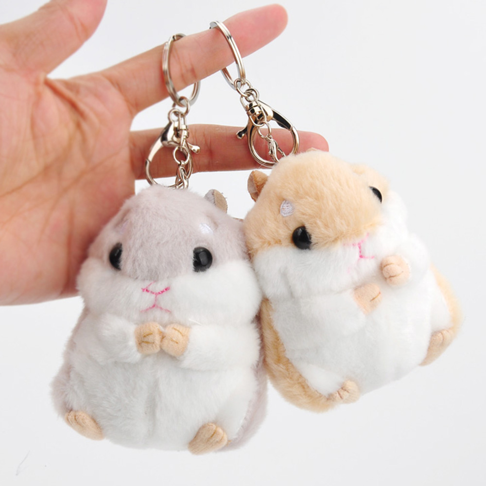 12cm Mini Hamster Pom Pom toy Women fluffy <font><b>Bunny</b></font> Hamster Toy Doll <font><b>Bag</b></font> Car Key Ring Monster Keychain Jewelry Gift toy