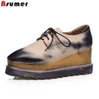 Asumer 2018 New High Quality Genuine Leather Wedges High Heels Platform Women Pumps Round Toe Thick