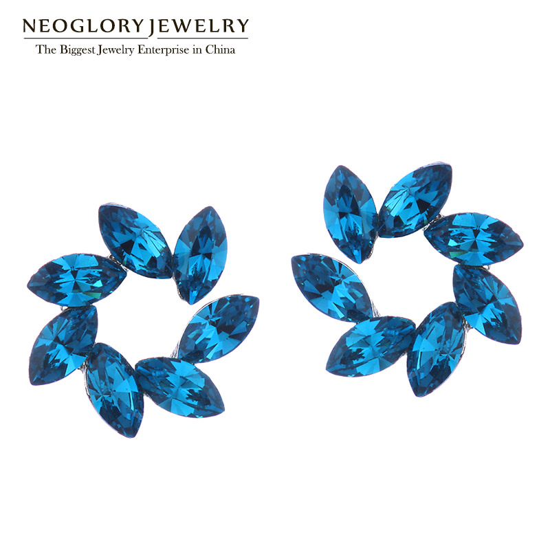 Neoglory MADE WITH SWAROVSKI ELEMENTS Crystal Blue Flower Stud Earrings Fashion For Women Brand 2018 pair of chic double end faux crystal flower ball stud earrings for women