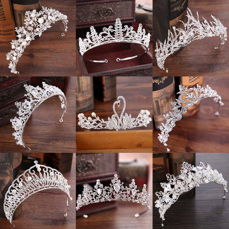 Diverse Silver Crystal Bride tiara Crown Fashion Pearl Queen Wedding Crown Headpiece Wedding Hair Jewelry Accessories Wholesale