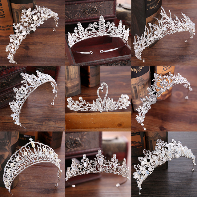 Diverse Silver Crystal Bride tiara Crown Fashion Pearl Queen Wedding Crown Headp