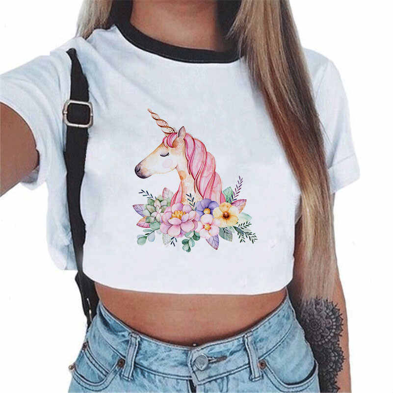 Harajuku Angel Unicorn T Shirt For Ladies Short Sleeve Hipster Cute Cartoon Kawaii Unicorn Print Cropped Top White T-shirt Women