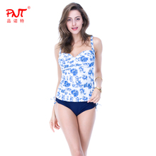 PNT048 Sexy Bikini Set 2016 Floral Open Girl Plus Size Swimsuit pink and skyblue Chest twisted design Biquini Print Vest Tankini