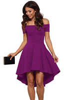 Women new arrived summer casual party wear purple sexy slash neck off shoulder and knee length swing dress for dance wear 61346