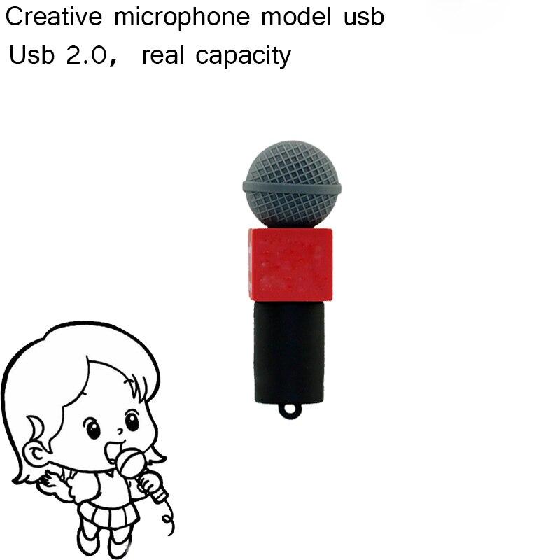 2016 New Pendrive Microphone USB Flash Drive 4GB 8GB 16GB 32GB 64GB voice tube Memory stick Pen Drive Flash memory device