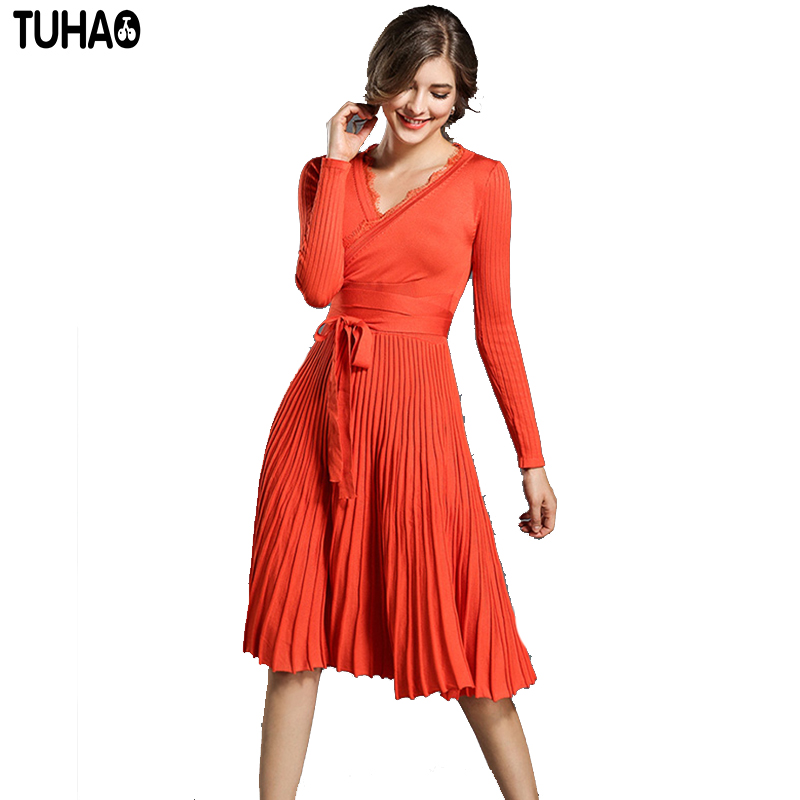 TUHAO Sexy V Neck Placed Knitted Dress Big Swing Women's Dresses A Line Vintage Knee Length High Waist Vestidos Five Color XC21 vintage frilled color block high waist dress