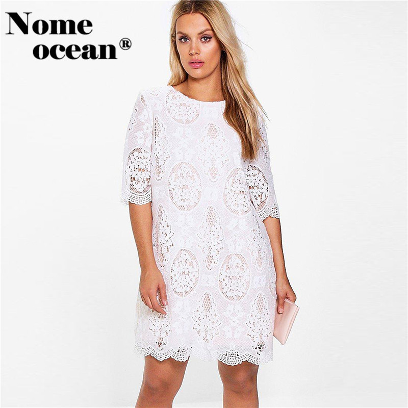 e1b928d523 Plus Abbi All Over Lace Shift Dress Embroidery Floral Lace Oversized Dresses  2018 Summer Short Sleeve Women Dresses M17051110-in Dresses from Women s ...