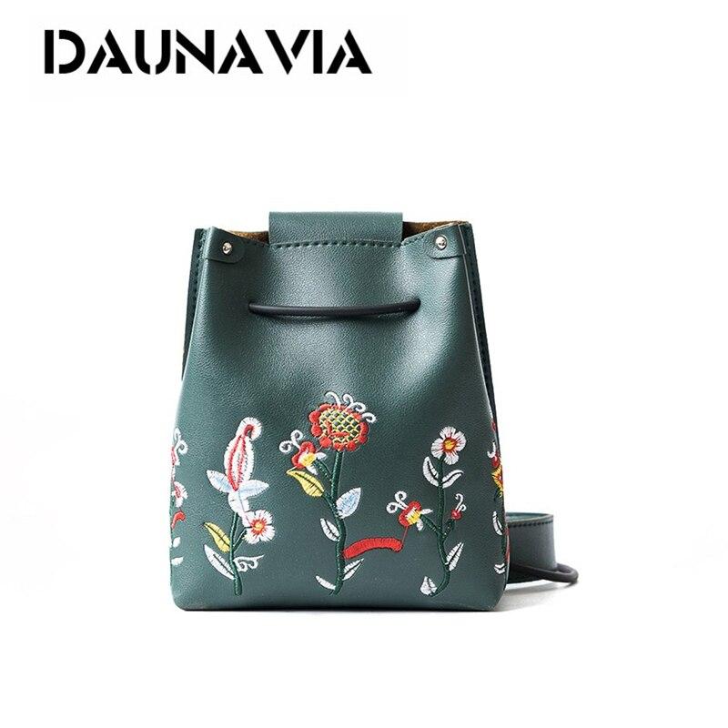DAUNAVIA NEW Fashion Woman Mini Embroidery Bucket Designer Messenger Bags Women Shoulder Bag Handbags Ladies Small Flap Bolsa