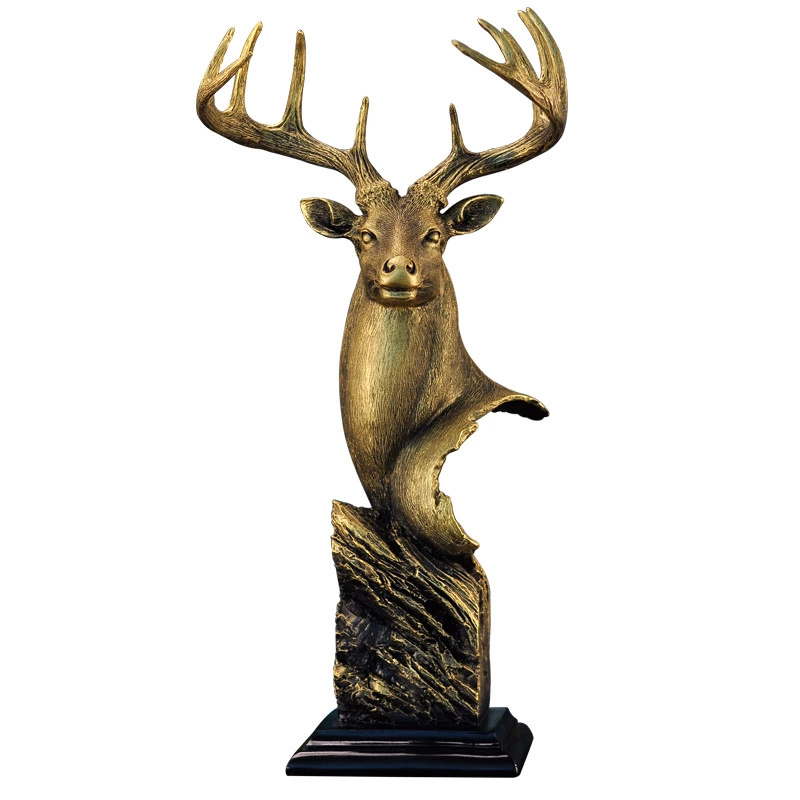 Creative Europe Deer Head Statue Figurine Art Resin Craft Ornament Miniatures Wedding Room Decoration Accessories Gift