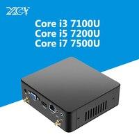 XCY 7th Gen Intel Core i3 7100U i5 7200U i7 7500U Mini PC 4 К HDMI NUC USB3.0 Wi Fi DDR3 Оперативная память Windows 10 Micro настольный компьютер